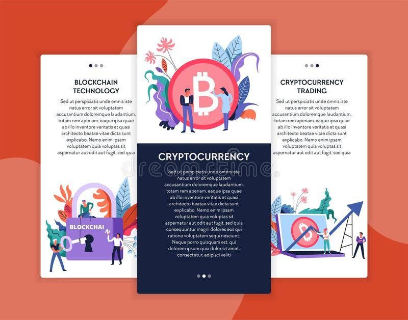 Cryptocurrency trading and blockchain technology online business web pages templates stock illustration