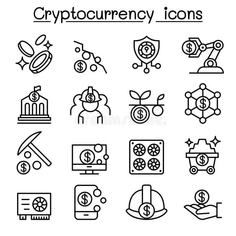 Cryptocurrency, van Blockchain & ICO-pictogramreeks vector illustratie