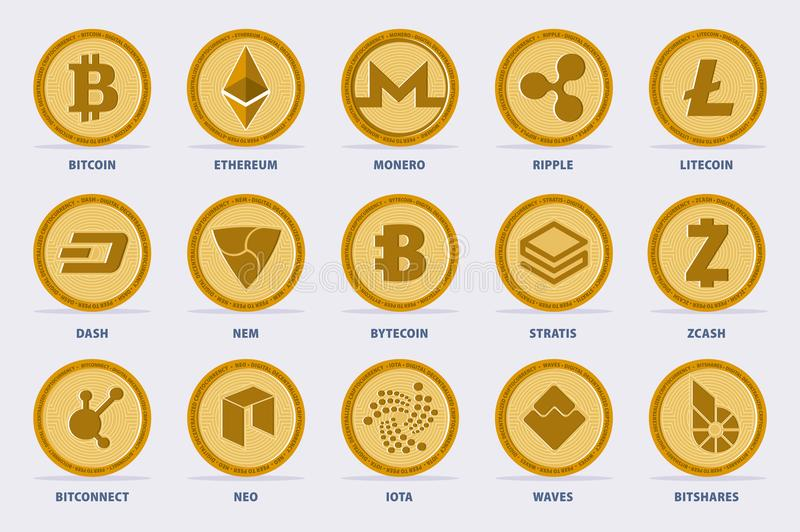 Cryptocurrency Vector Set royalty free illustration