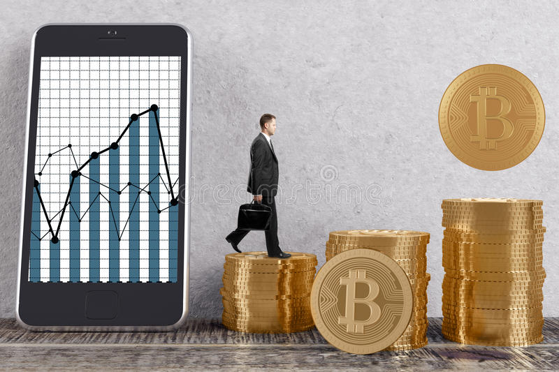Cryptocurrency and virtual concept. Side view of young businessman in interior with golden bitcoin piles and business graph on smartphone screen. Cryptocurrency stock illustration
