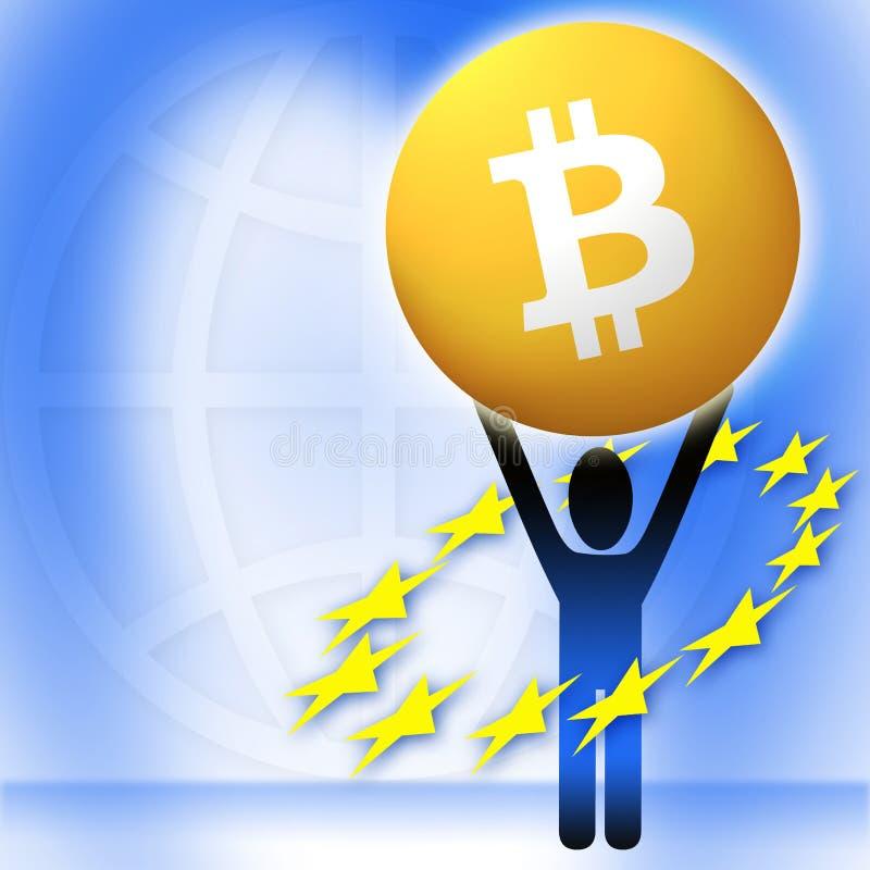 Cryptocurrency virtual de Bitcoin do dinheiro - Bitcoins aceitado aqui ilustração royalty free