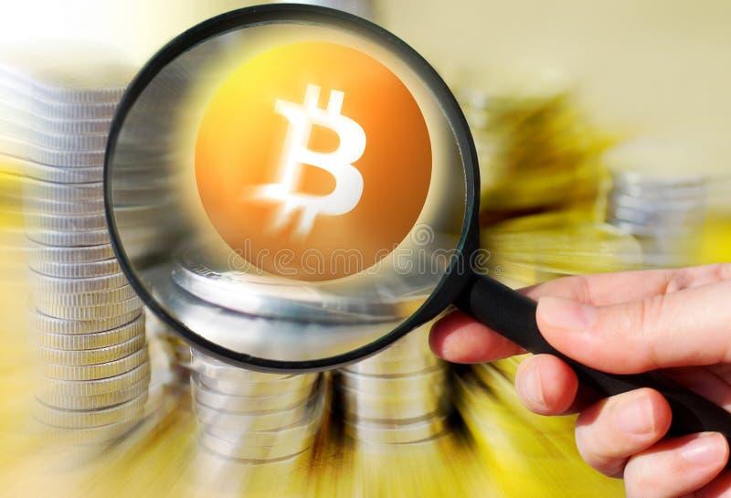 Cryptocurrency virtual de Bitcoin do dinheiro - Bitcoins aceitado aqui fotos de stock