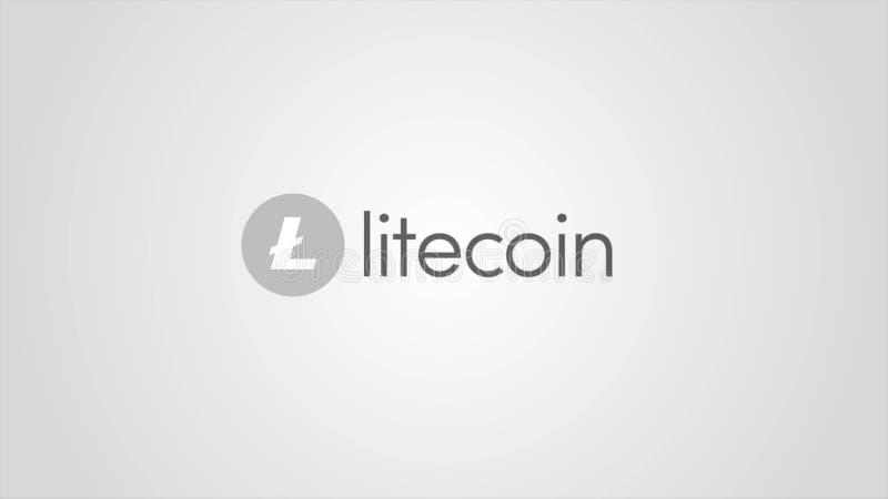 Cryptocurrency virtual de Litecoin del dinero - moneda de Litecoin LTC aceptó aquí - firme en el fondo blanco Cryptocurrency ilustración del vector