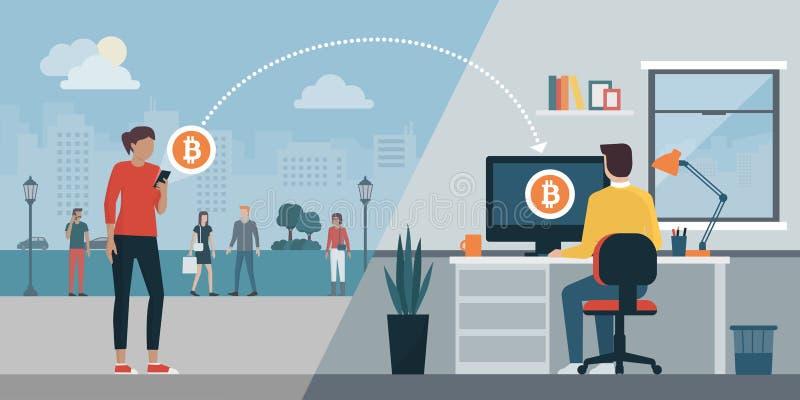 Cryptocurrency virtual transaction stock illustration