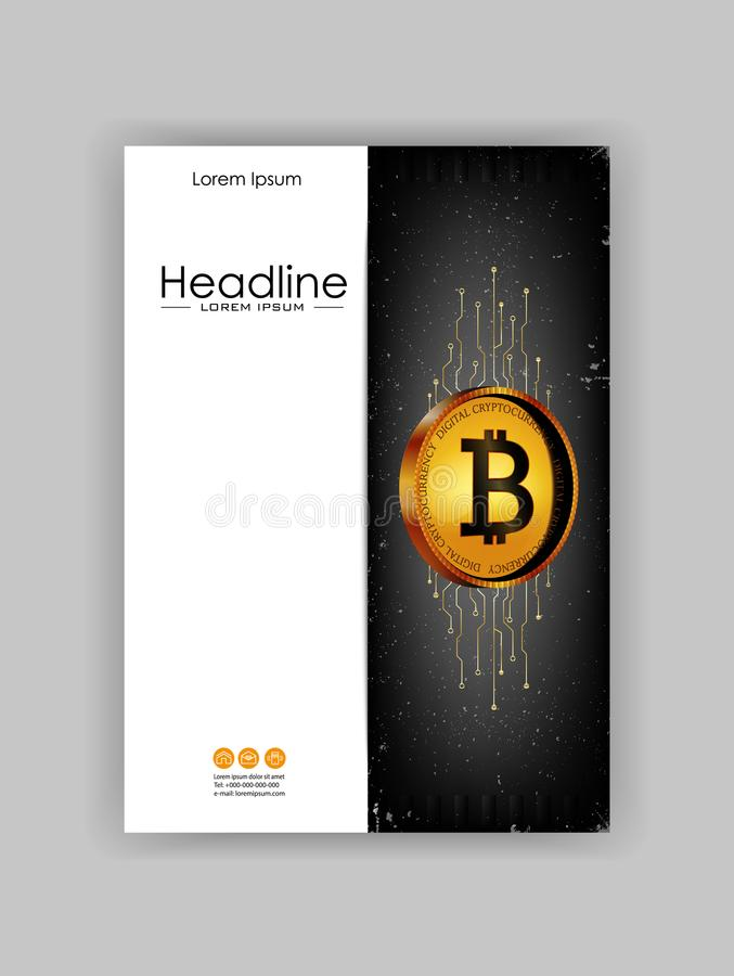 Cryptocurrency web banner with 3d realistic bitcoin on dark old. Background with futuristic lines. Vector vector illustration