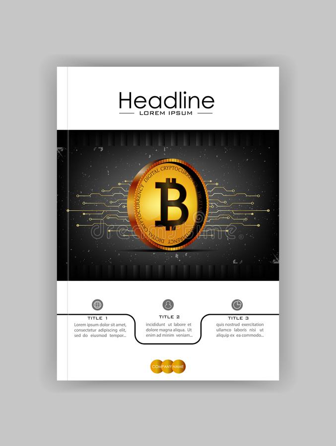Cryptocurrency web banner with 3d realistic bitcoin on dark old. Background with futuristic lines. Vector royalty free illustration