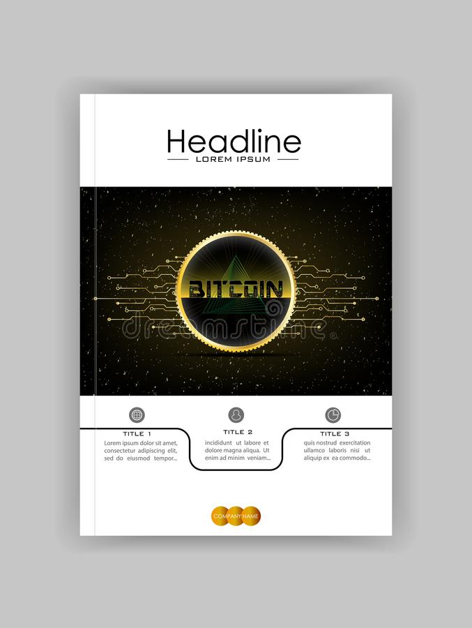 Cryptocurrency web banner with 3d realistic golden bitcoin on da. Rk space old background with futuristic lines. Vector vector illustration