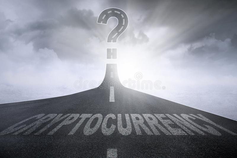 Cryptocurrency word with question mark symbol. Image of Cryptocurrency word with question mark symbol on the empty road stock photos