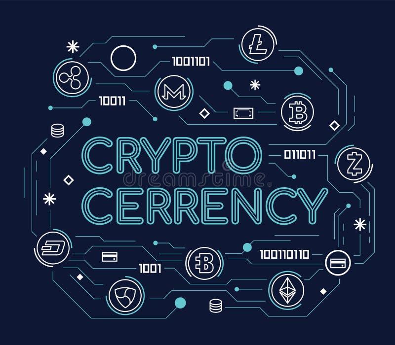 Cryptocurrency-Wort-Konzept mit cryptocurrency Zeichen und Finanzierung unterzeichnen dünne Linie Art Vektor-Illustration der Lin stock abbildung
