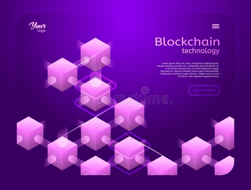 Cryptocurrency y ejemplo isométrico del vector del blockchain libre illustration