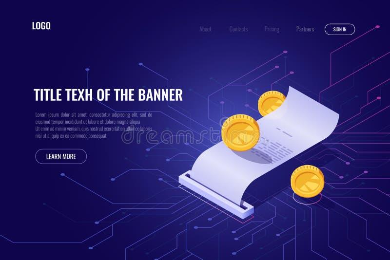 Cryptocurrency zapłaty i kopalnictwa pojęcie, ico isometric sztandar, strona internetowa blockchain technologia, pieniądze transa royalty ilustracja