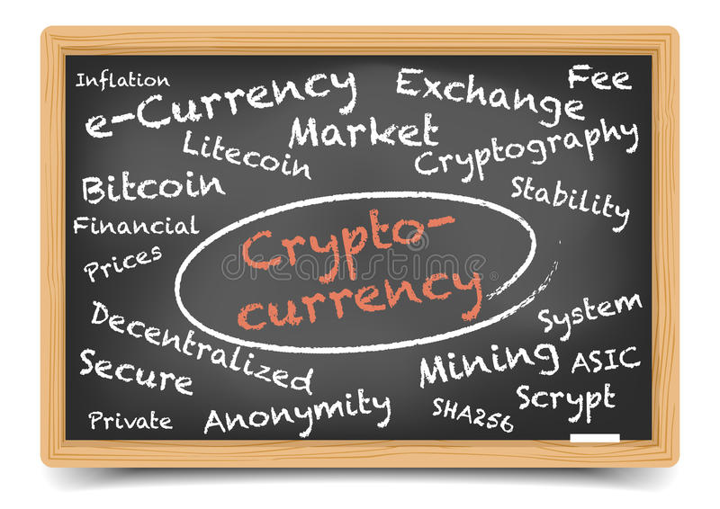 Cryptocurrencybord royalty-vrije illustratie