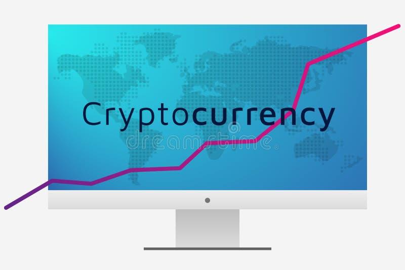 Cryptocurrencygrafiek en wereldkaart op PC-het scherm Editable EPS10 stock illustratie