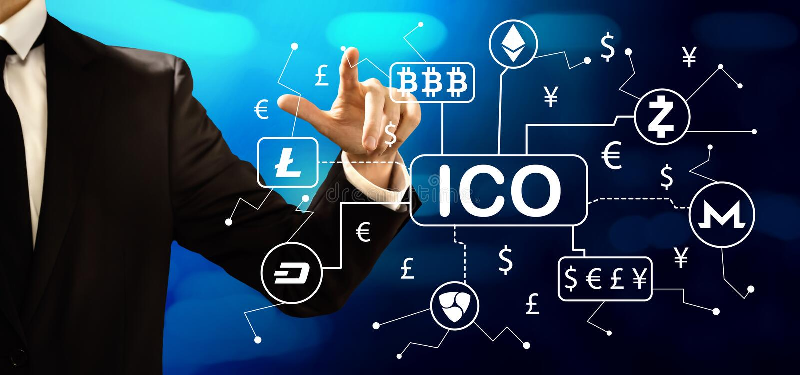 Cryptocurrencyico thema met zakenman royalty-vrije stock foto's