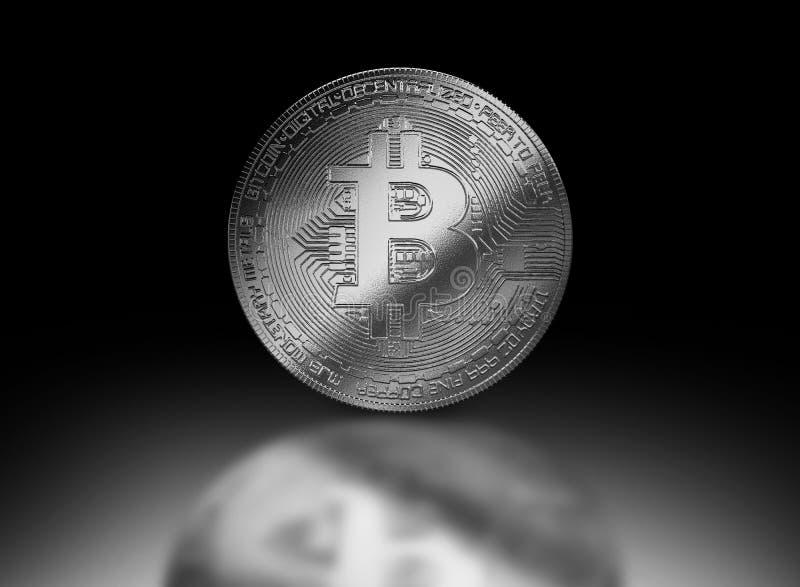 Cryptocurrencyillustratie van het Bitcoin zilveren muntstuk stock illustratie