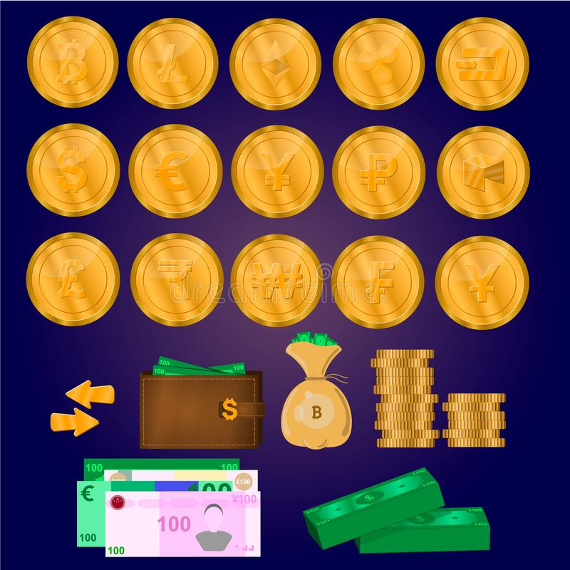 Download Cryptocurrencymuntstukken, Geld, Bedrijfsreeks Stock Illustratie - Illustratie bestaande uit vlak, geïsoleerd: 107708283