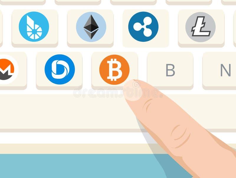Cryptocurrencytekens op computertoetsenbord stock illustratie