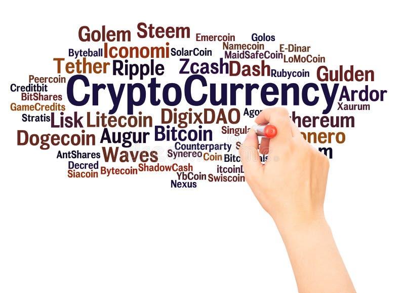 CryptoCurrencyword写概念的云彩手 免版税库存照片