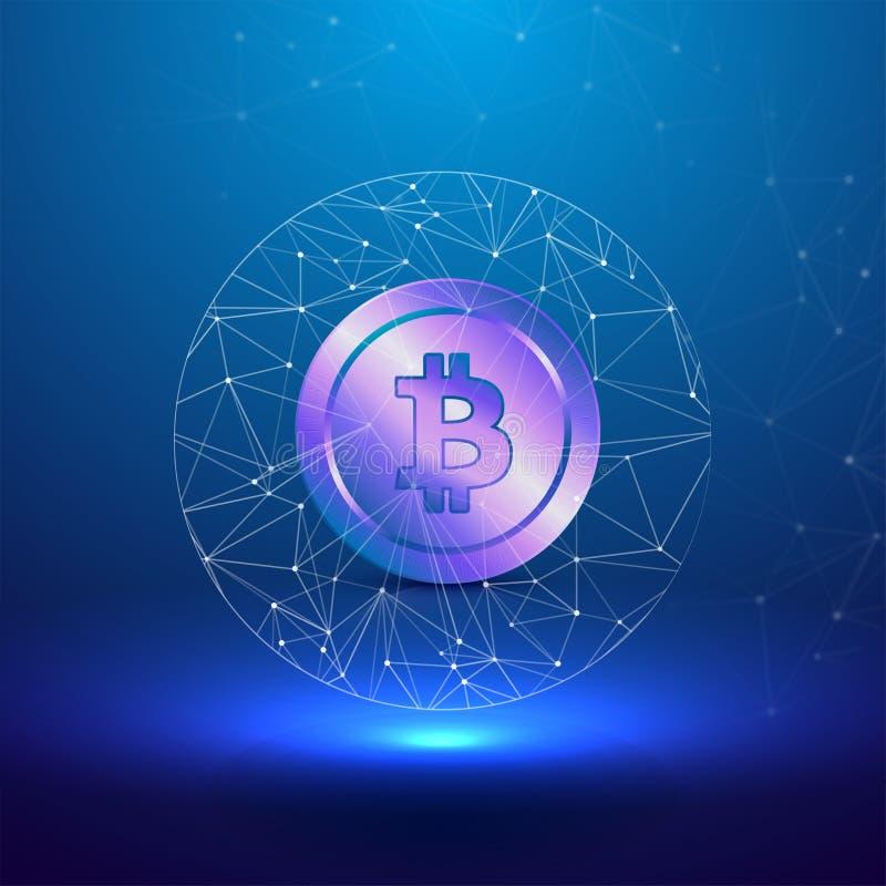Cryptocurreny begrepp med skinande purpurfärgad bitcoin stock illustrationer