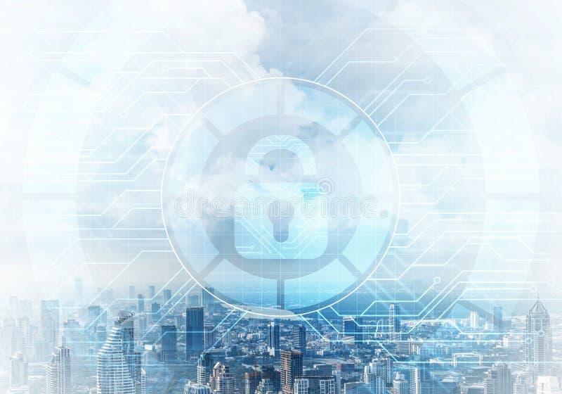 Cryptography and encryption algorithm concept. Risk management and professional safeguarding. Virtual padlock hologram on background of city skyline stock illustration