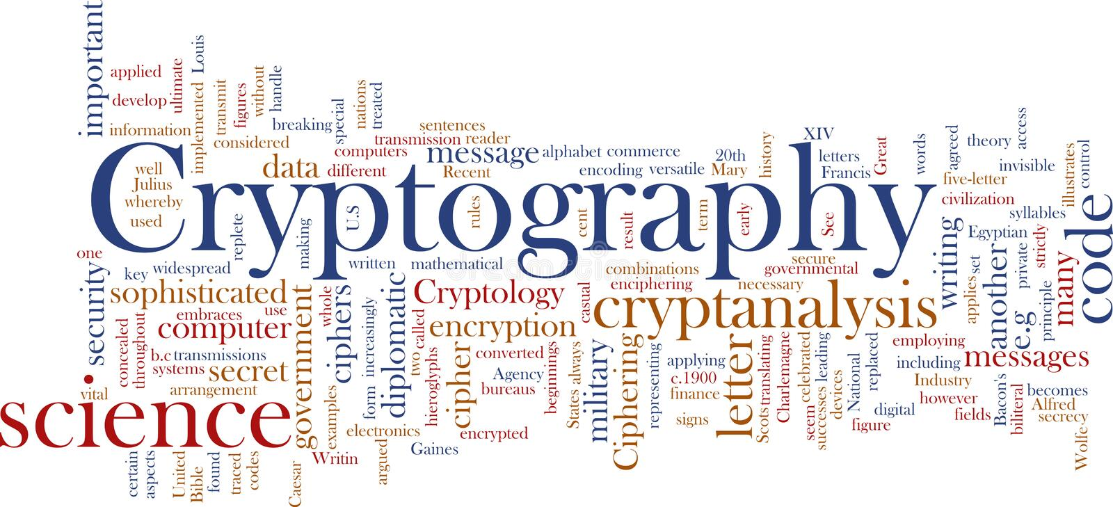 Cryptography word cloud. Word cloud concept illustration of cryptography encryption stock illustration
