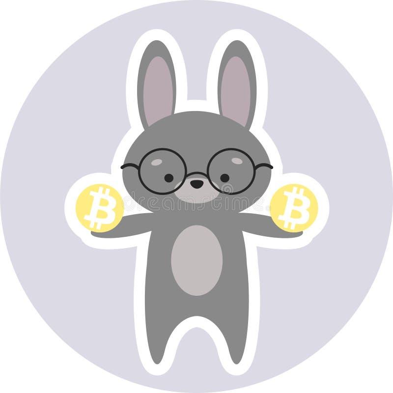 Cryptoinvestor esperto do coelho que guarda Bitcoins foto de stock