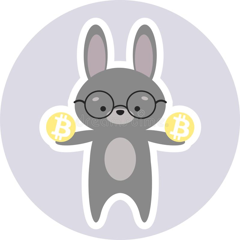 Cryptoinvestor futé de lapin tenant Bitcoins photo stock