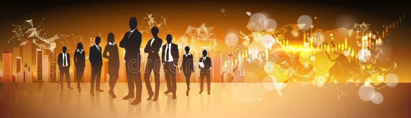 Cryptos gens d'affaires de groupe de silhouette de concept de devise se tenant au-dessus de la carte du monde avec l'argent de We illustration de vecteur