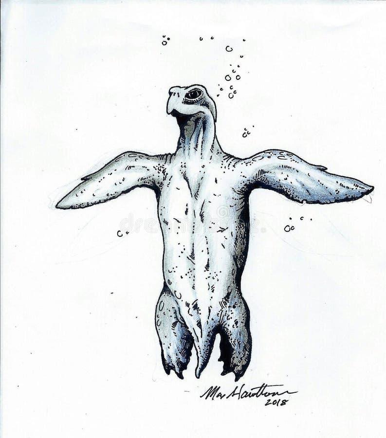 Cryptozoology géant prédateur superbe de tortue de mer illustration libre de droits