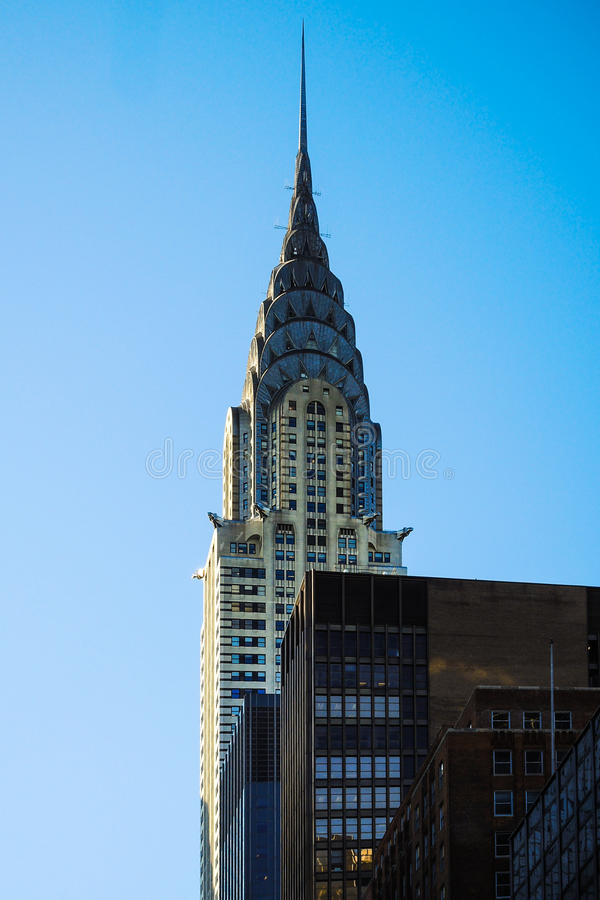 Crysler строя пик небоскреба голубого неба Нью-Йорка Манхаттана стоковое изображение rf