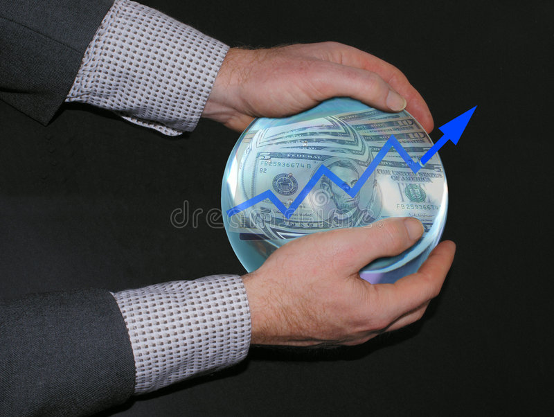 Crysrtal ball showing success. Mixed media work showing a business man having a crystal ball in his hands with money and an upgoing arrow royalty free illustration