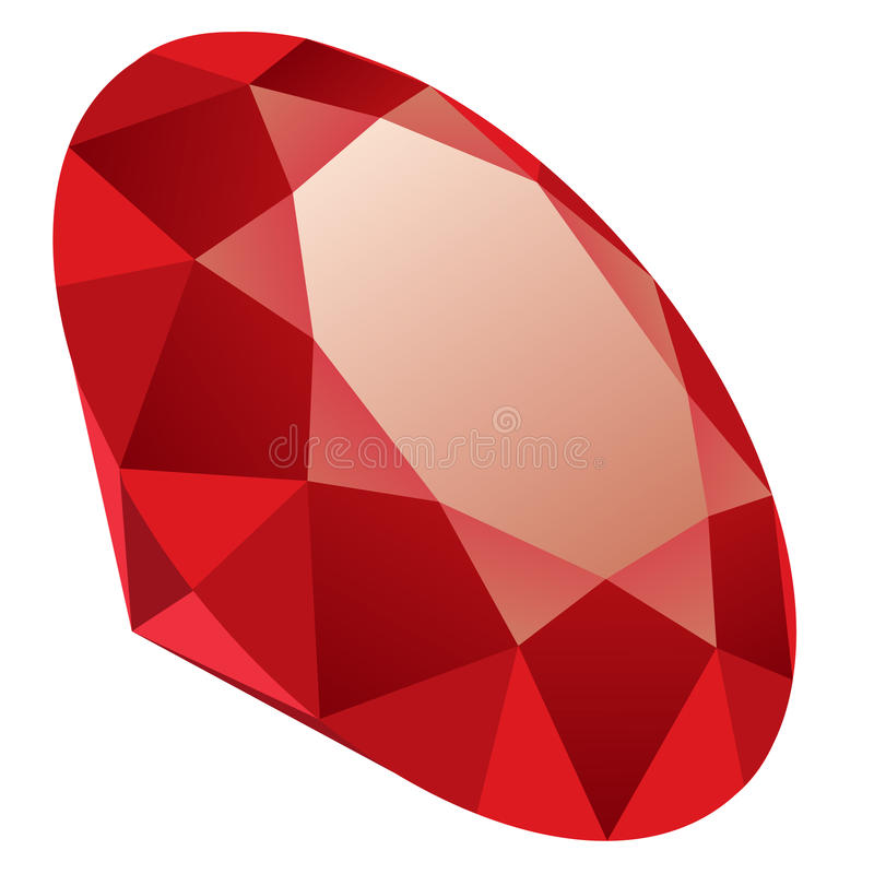 Crystal. Illustration of red crystal isolated on white background royalty free illustration