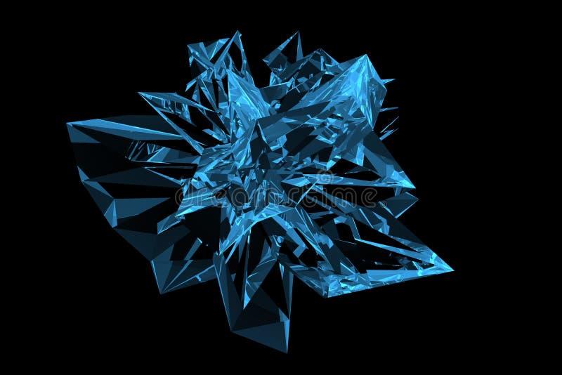 Crystal 3D rendered xray blue stock illustration
