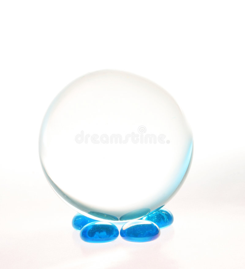 Free Crystal Ball Blue Pebbles Royalty Free Stock Image - 3305596