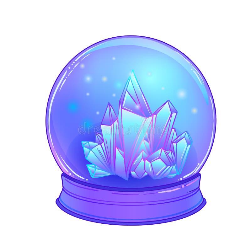 Crystal Ball com com as gemas dos cristais para dentro Vetor bonito assustador ilustração do vetor