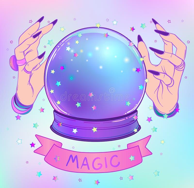 Crystal Ball com o estrangeiro fêmea roxo cede a malha b do inclinação ilustração stock