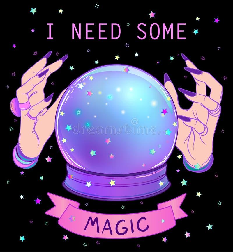 Crystal Ball com o estrangeiro fêmea roxo cede a malha b do inclinação ilustração royalty free