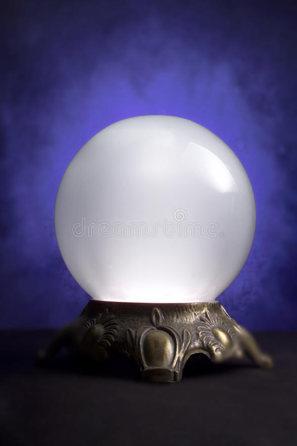 RETIREMENT FUND CRYSTAL BALL FINANCIAL PLANNING MANAGEMENT. Crystal Ball with Dollar Sign on Dark Blue Background Illustrating, Wealth Management Financial stock images
