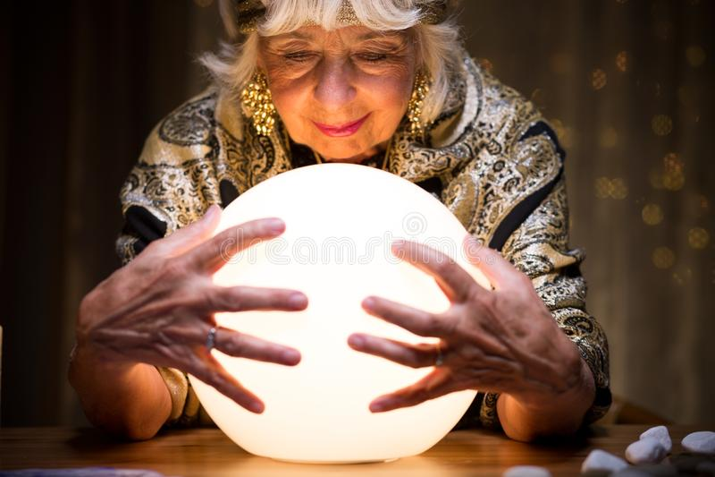 Crystal ball is a gadget. Magic crystal ball is a gadget of fortune teller stock image