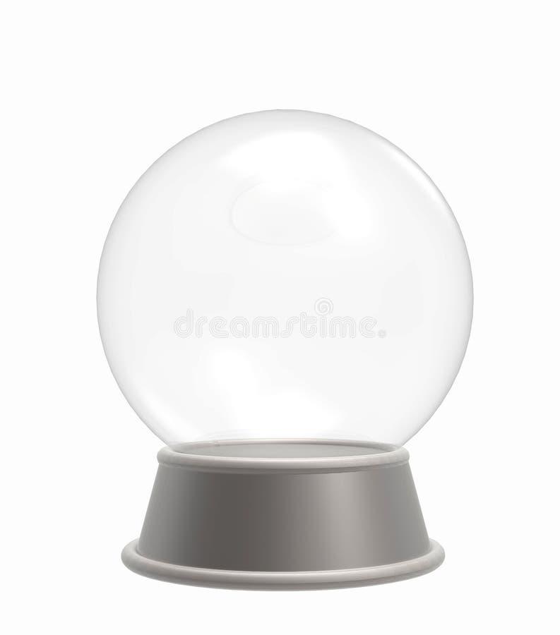Crystal Ball/globo vazios da neve isolado no fundo branco ilustração 3D ilustração do vetor