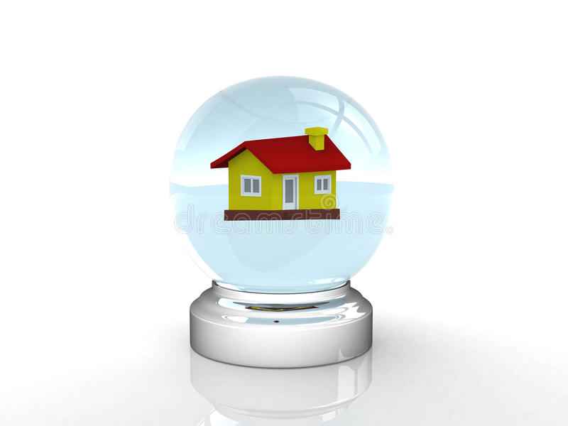 Crystal ball and house royalty free illustration