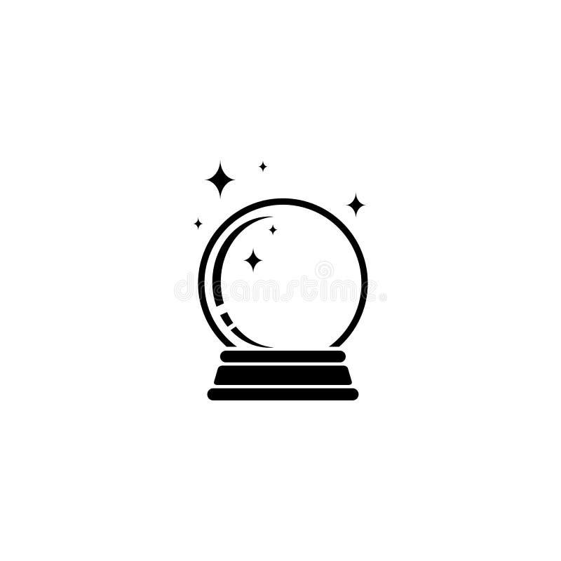 Crystal Ball Magic Icon Vector-Embleem royalty-vrije illustratie