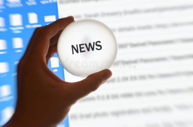 Crystal ball magnify screen word news. Information concept royalty free stock images