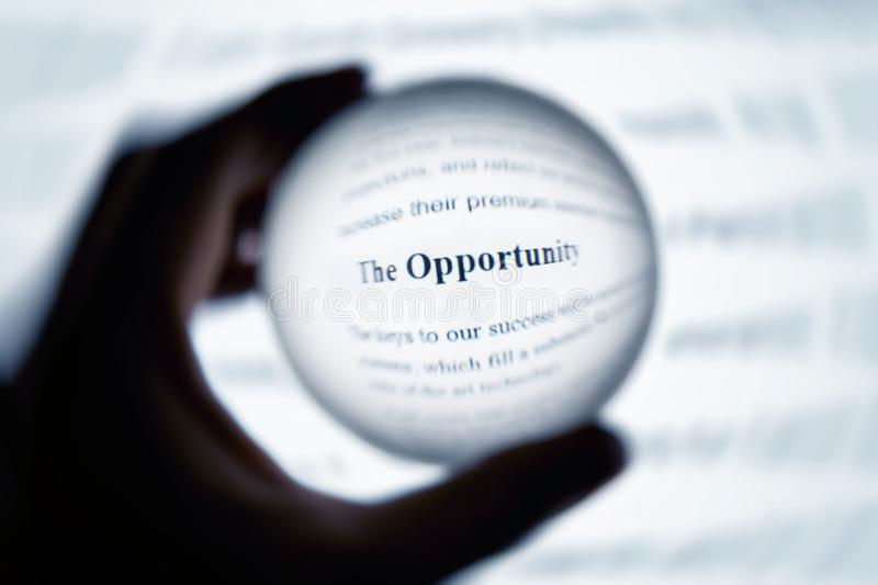 Crystal ball magnify word opportunity. Crystal ball magnify computer screen word opportunity stock image