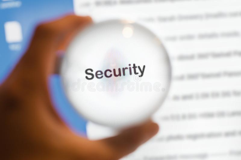 Crystal ball magnify word security. Internet concept stock photo
