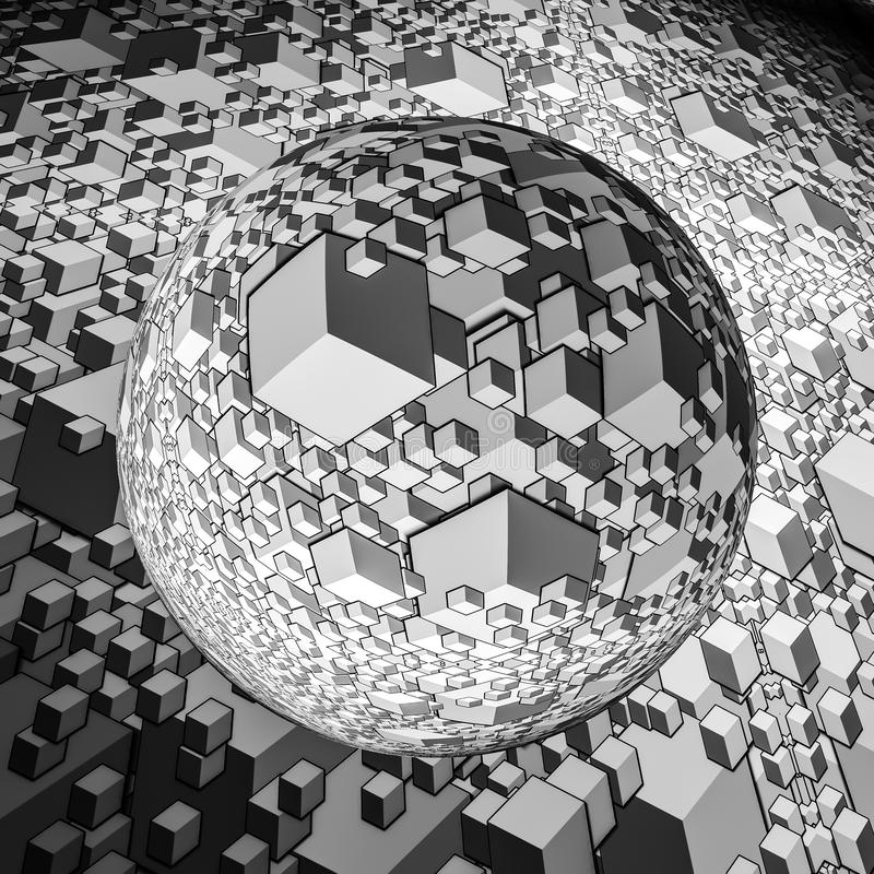 Crystal ball magnifying background stock illustration