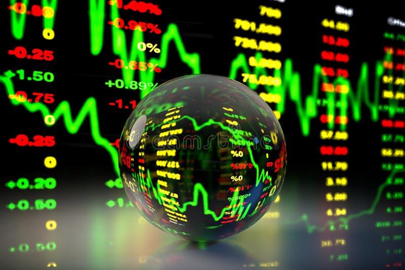 Crystal Ball med aktiemarknaddiagrambakgrund, tolkning 3D vektor illustrationer