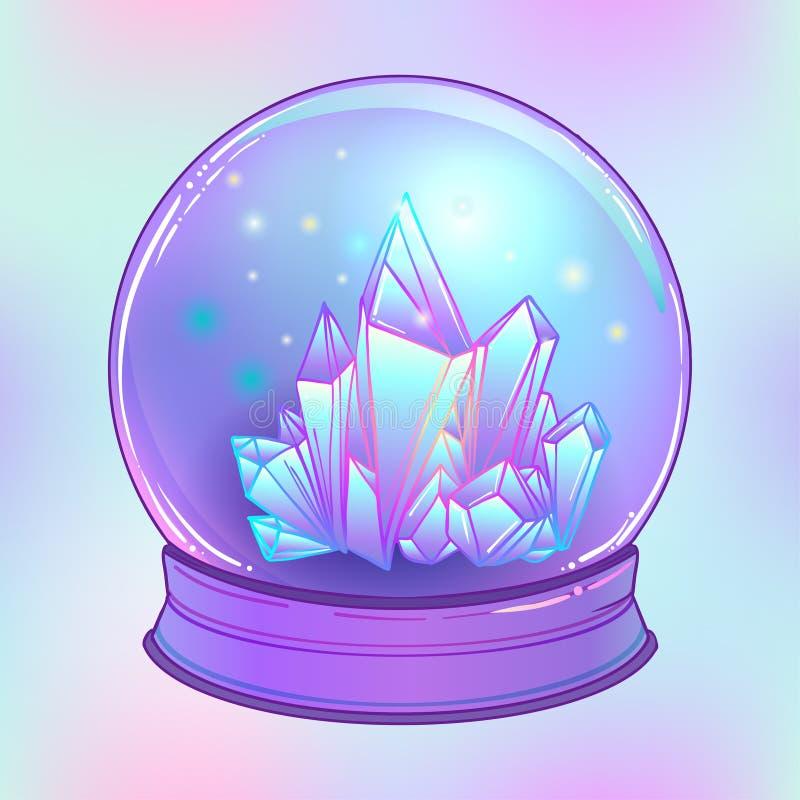 Crystal Ball met met kristallen binnen gemmen Griezelige leuke vector stock illustratie
