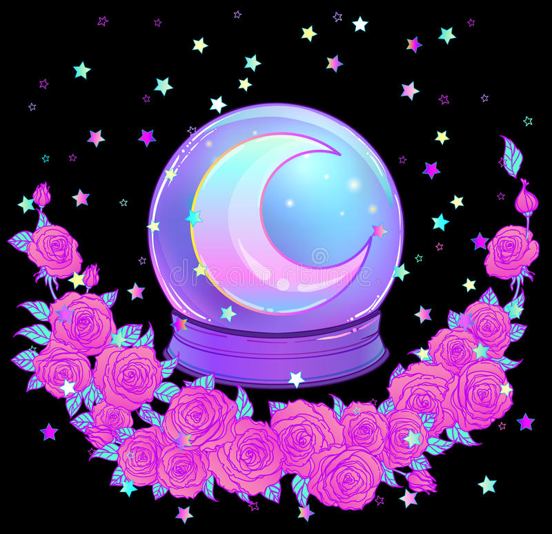 Crystal Ball met met regenboogmaan en kleurrijke sterren stock illustratie