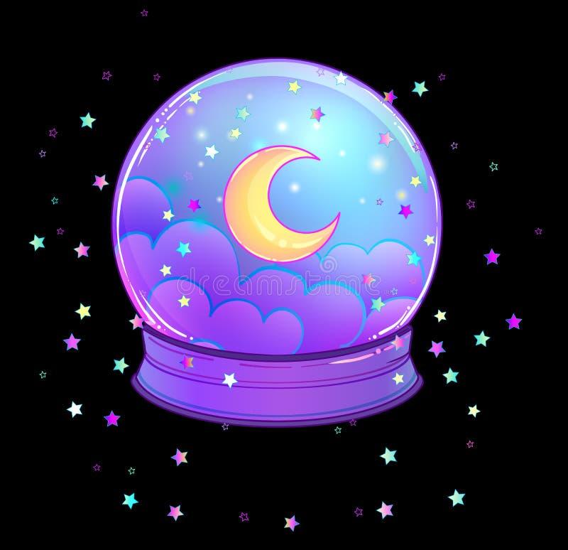 Crystal Ball met met regenboogmaan en kleurrijke sterren royalty-vrije illustratie